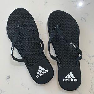 Adidas Women's Eezay Soft Thong Sandals Black Sz6